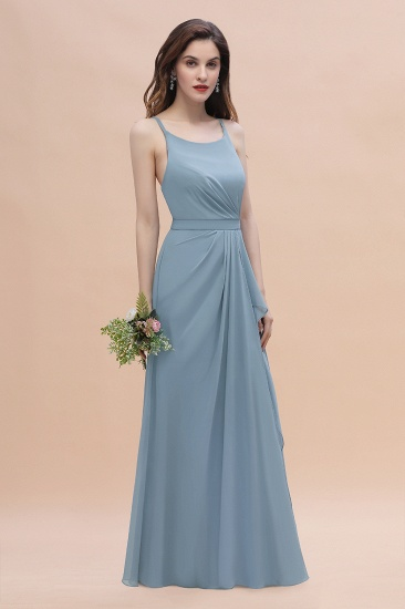 Gorgeous A-Line Straps Dusty Blue Chiffon Bridesmaid Dress with Ruffles On Sale_7
