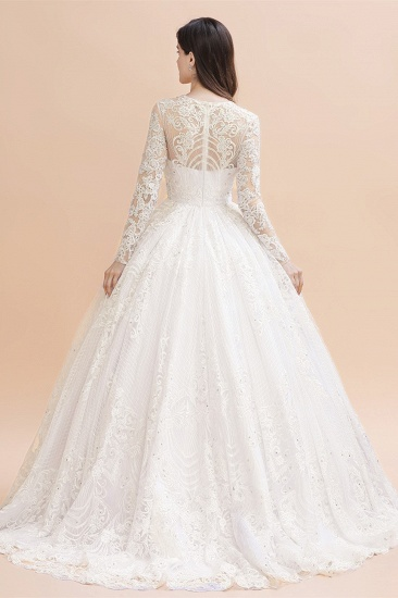 BMbridal Glamorous Jewel Tulle Lace Wedding Dress Long Sleeves Appliques Beadings Bridal Gowns Online_3