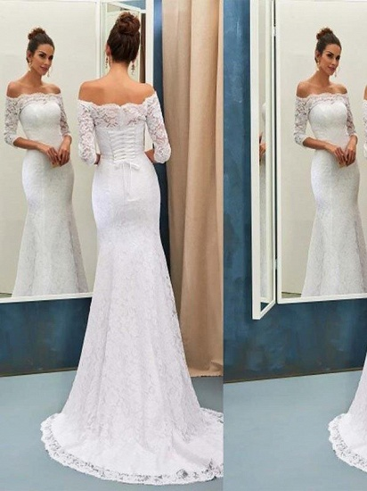 Glamorous Full Lace Mermaid Wedding Dress Long Bridal Gowns With Sleeves