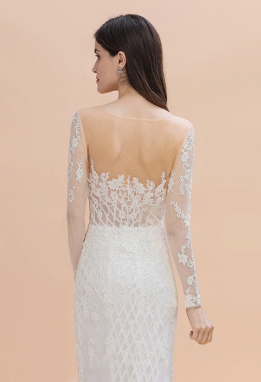 BMbridal Gorgeous Jewel Tulle Lace Wedding Dress Long Sleeves Appliques Mermaid Bridal Gowns On Sale_8