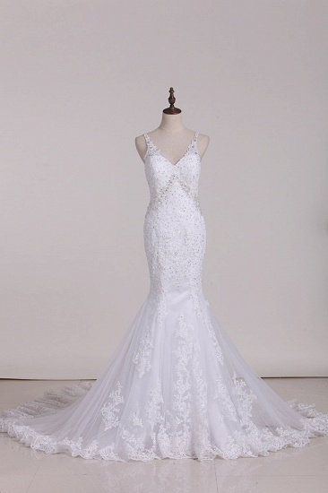 Glamorous Mermaid White Tulle Lace Wedding Dress Straps V-Neck Appliques Beadings Bridal Gowns On Sale