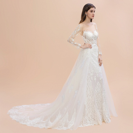 BMbridal Gorgeous Jewel Tulle Lace Wedding Dress Long Sleeves Appliques Mermaid Bridal Gowns On Sale_10