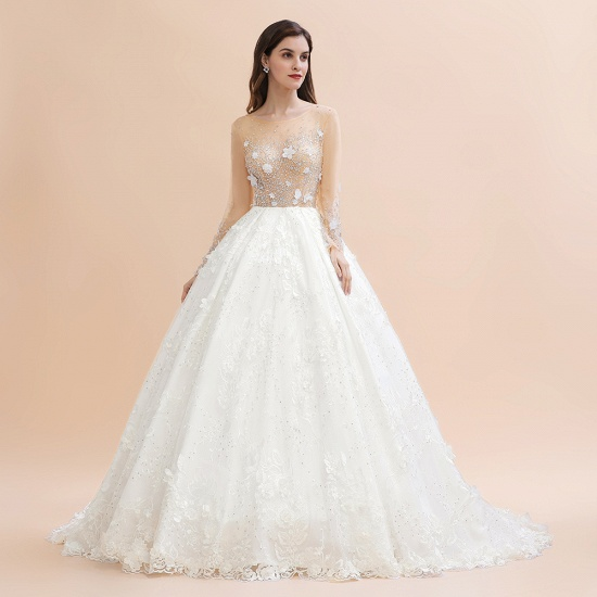 Luxury Ball Gown Tulle Lace Wedding Dress Long Sleeves Appliques Pearls Bridal Gowns with Flowers On Sale_7