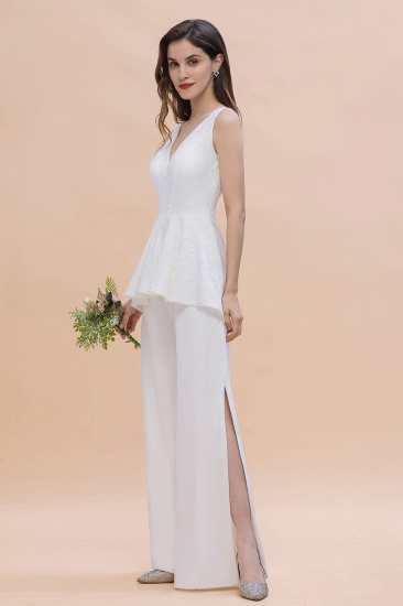 BMbridal Fashion V-Neck Lace Side Slit Bridesmaid Jumpsuits with Hollowout On Sale_7
