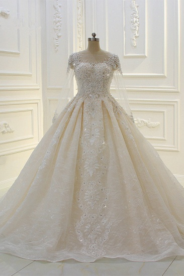 Luxury Ball Gown Jewel Tulle Wedding  Dress Long Sleeves Lace Applqiues Beadings Bridal Gowns On Sale