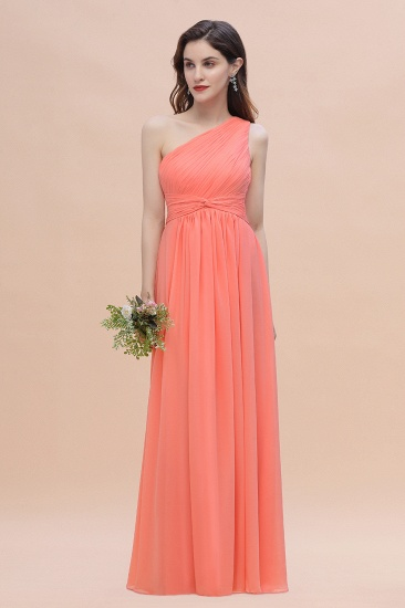 BMbridal Chic One-Shoulder Ruffles Chiffon Coral Bridesmaid Dresses On Sale_4