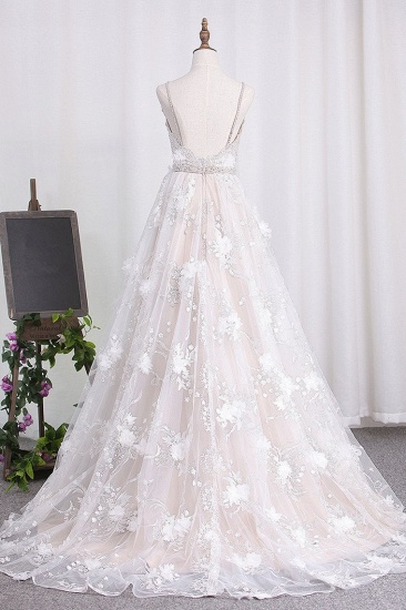 BMbridal Sexy Spaghetti Straps Tulle Wedding Dress Backless Lace Beadings Bridal Gowns with Flowers_3