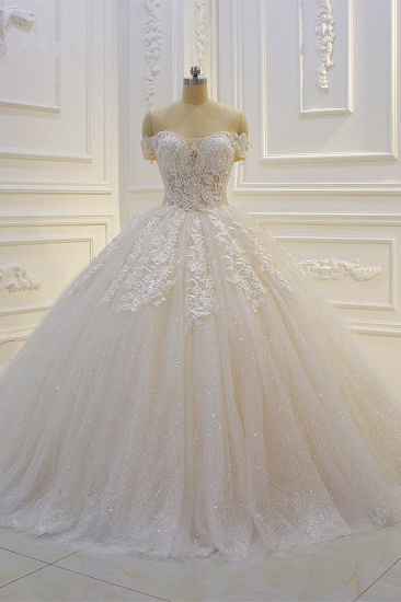 Luxury Ball Gown Strapless Tulle Wedding Dress Lace Appliques Sleeveless Sequined Bridal Gowns On Sale