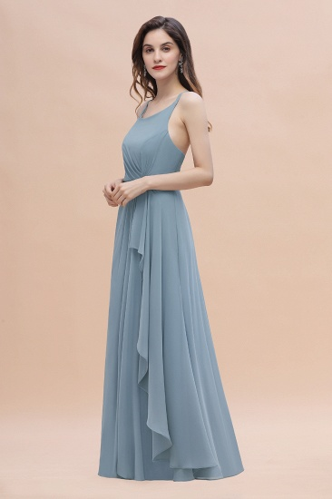 Gorgeous A-Line Straps Dusty Blue Chiffon Bridesmaid Dress with Ruffles On Sale_4