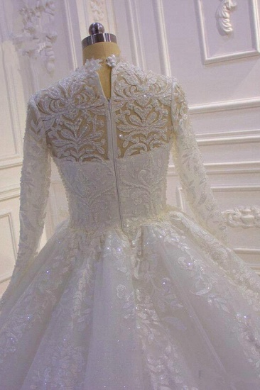 BMbridal Luxury Ball Gown High Neck Tull Lace Wedding Dress Long Sleeves Appliques Sequins Bridal Gowns Online_6