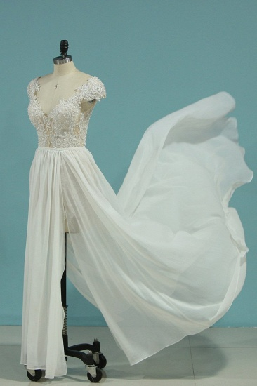 Simple Chiffon Ruffles Lace Wedding Dress Appliques Cap Sleeves V-neck Beadings Bridal Gowns On Sale_5