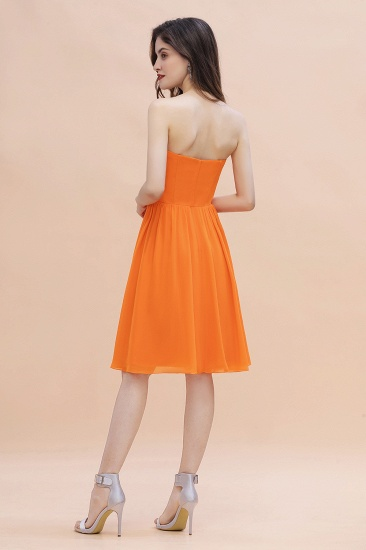 BMbridal Pretty Strapless Sweetheart Chiffon Sequins Short Bridesmaid Dress with Ruffles_3