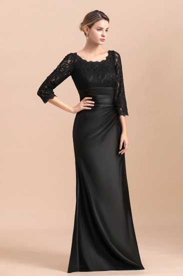 BMbridal Elegant Jewel 3/4 Sleeves Black Satin Lace Ruffles Mother of Bride Dress On Sale_6