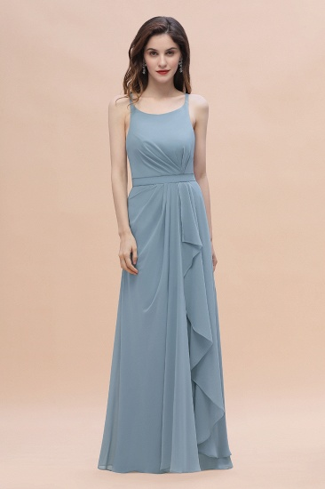 Gorgeous A-Line Straps Dusty Blue Chiffon Bridesmaid Dress with Ruffles On Sale_5