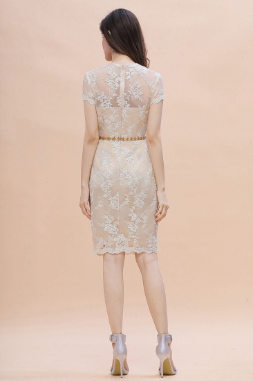 BMbridal Chic Jewel Tulle Lace Beadings Mother of Bride Dress with Short Sleeves Online_9