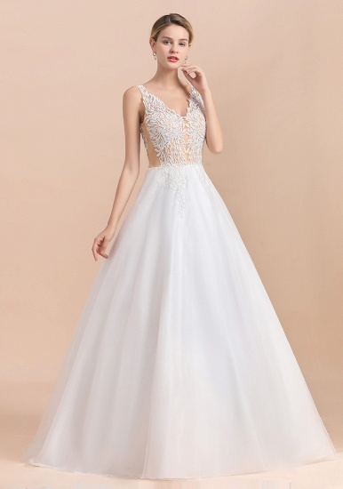 BMbridal Boho V-Neck Lace Wedding Dress Tulle Appliques Sleeveless Bridal Gowns On Sale_9
