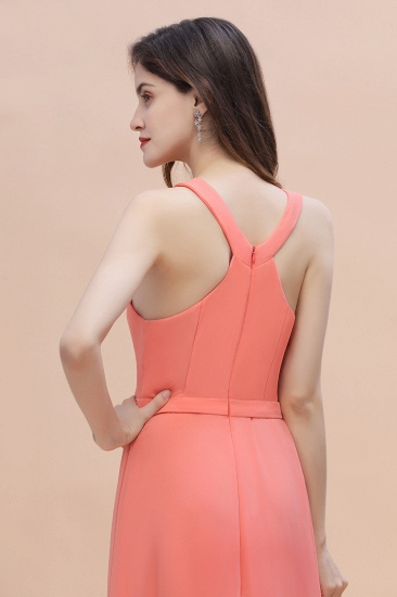 BMbridal Simple Jewel Sleeveless Coral Chiffon Bridesmaid Dress Online_9