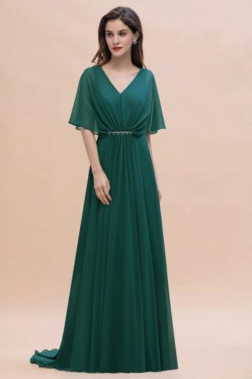 BMbridal Gorgeous V-Neck Chiffon Ruffles Beading Bridesmaid Dress with Half Sleeves_4
