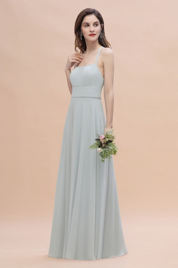 Simple Straps A-line Chiffon Mist Bridesmaid Dress with Ruffles Online_5