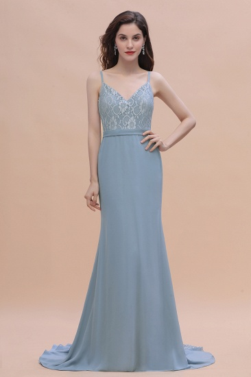 Elegant Mermaid Chiffon Lace Dusty Blue Bridesmaid Dress with Spaghetti Straps On Sale