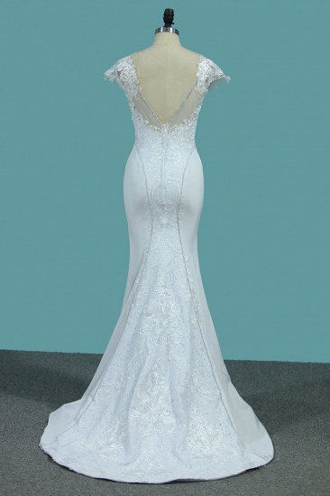BMbridal Chic Satin Jewel Lace Wedding Dress Cap Sleeves Beadings Mermaid Bridal Gowns On Sale_3