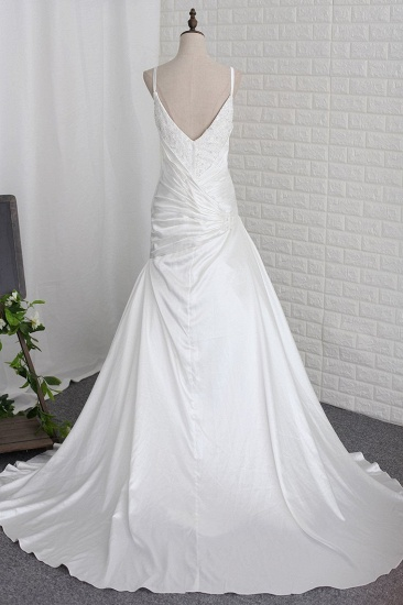 BMbridal Stylish Straps Sweetheart Wedding Dress White Satin Lace Appliques Beadings Bridal Gowns Online_3