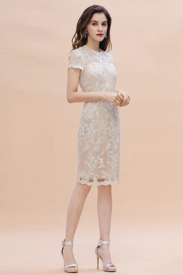 BMbridal Chic Jewel Tulle Lace Beadings Mother of Bride Dress with Short Sleeves Online_7