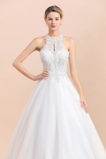 BMbridal Exquisite High-Neck Lace Wedding Dress Appliques Sequins Sleeveless Bridal Gowns On Sale_8