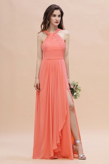 BMbridal Gorgeous A-Line Sleeveless Coral Chiffon Bridesmaid Dress with Ruffles On Sale
