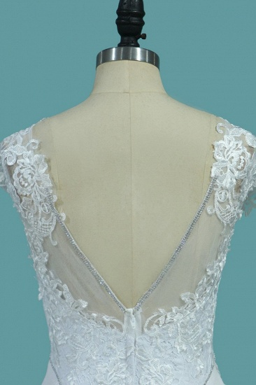 BMbridal Chic Satin Jewel Lace Wedding Dress Cap Sleeves Beadings Mermaid Bridal Gowns On Sale_5
