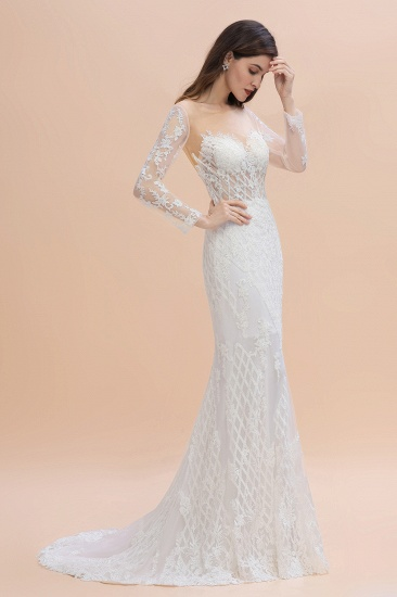 BMbridal Gorgeous Jewel Tulle Lace Wedding Dress Long Sleeves Appliques Mermaid Bridal Gowns On Sale_4