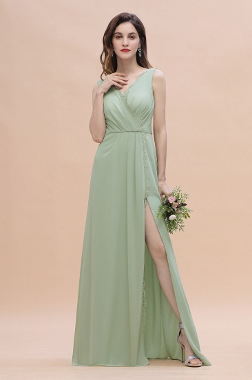 BMbridal Sexy Chiffon Ruffles Dusty Sage Bridesmaid Dress with Lace Edge On Sale_4