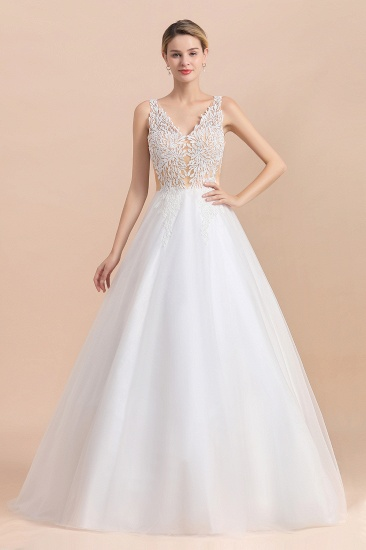 BMbridal Boho V-Neck Lace Wedding Dress Tulle Appliques Sleeveless Bridal Gowns On Sale