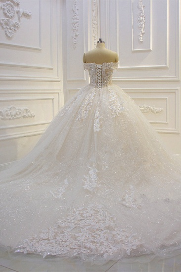 Luxury Ball Gown Strapless Tulle Wedding Dress Lace Appliques Sleeveless Sequined Bridal Gowns On Sale_3