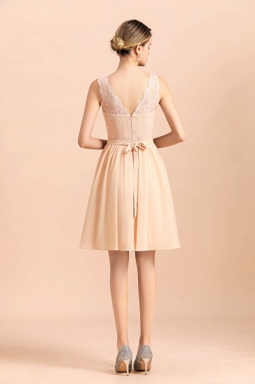 BMbridal Pretty V-Neck Chiffon Lace Short Bridesmaid Dress with Ruffles Online_3