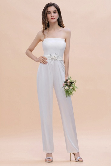 Fashion Strapless Satin Sleeveless Bridesmaid Jumpsuit with Beading Flowers On Sale_2