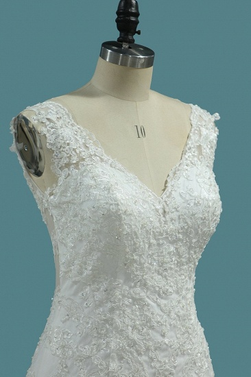 Elegant Mermaid V-neck Tulle Wedding Dress White Lace Appliques Beadings Bridal Gowns Online_4