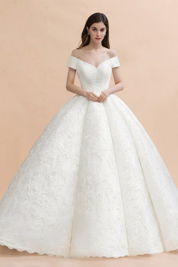 Luxury Ball Gown  Lace Satin Sweetheart Wedding Dress Sleeveless Bridal Gowns with V-Back On Sale