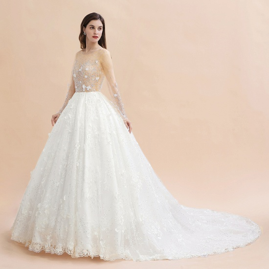Luxury Ball Gown Tulle Lace Wedding Dress Long Sleeves Appliques Pearls Bridal Gowns with Flowers On Sale_11