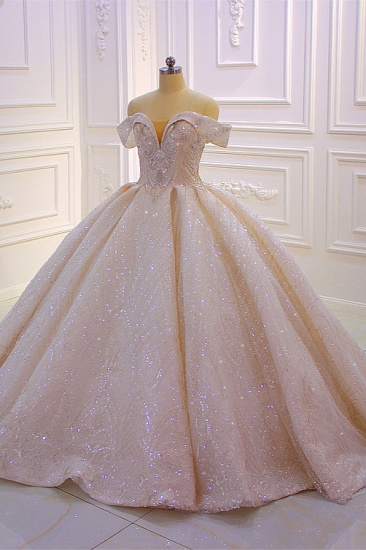 BMbridal Luxury Ball Gown Off-the-Shoulder Wedding Dress Tulle Sequined Beadings Sleeveless Bridal Gowns Online_4