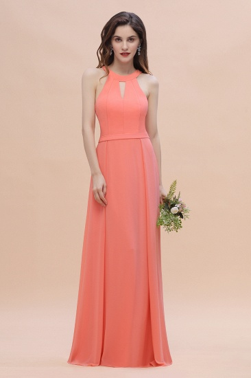 BMbridal Simple Jewel Sleeveless Coral Chiffon Bridesmaid Dress Online_4