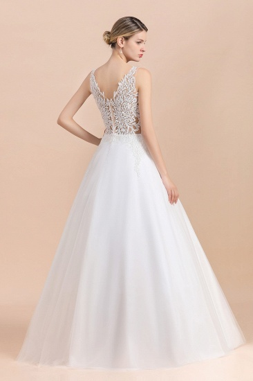 BMbridal Boho V-Neck Lace Wedding Dress Tulle Appliques Sleeveless Bridal Gowns On Sale_3