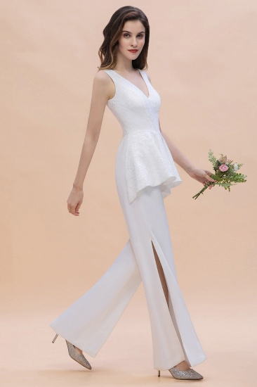 BMbridal Fashion V-Neck Lace Side Slit Bridesmaid Jumpsuits with Hollowout On Sale_5