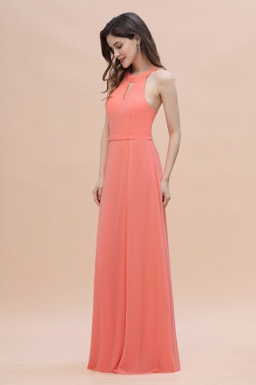 BMbridal Simple Jewel Sleeveless Coral Chiffon Bridesmaid Dress Online_6