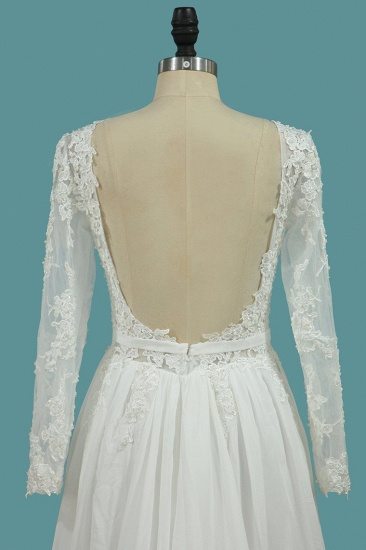 BMbridal Elegant Jewel Long Sleeves Wedding Dress Chiffon Tulle Lace Ruffles Bridal Gowns Online_5