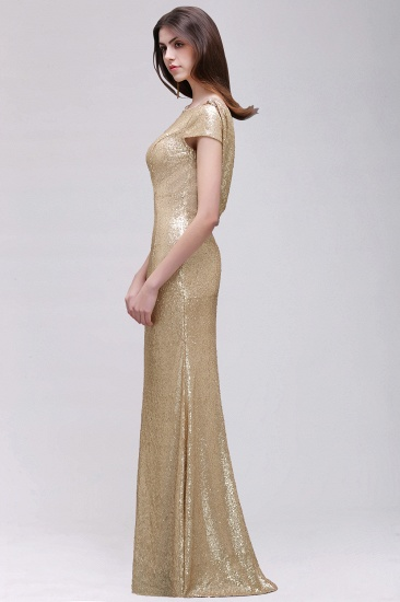 BMbridal Sparkly Sequined Jewel Sheath Prom Dress with Short Sleeves and Draped Back_9