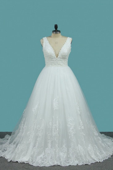 BMbridal Gorgeous A-Line Tulle Wedding Dress Sleeveless Lace Pearls Bridal Gowns On Sale