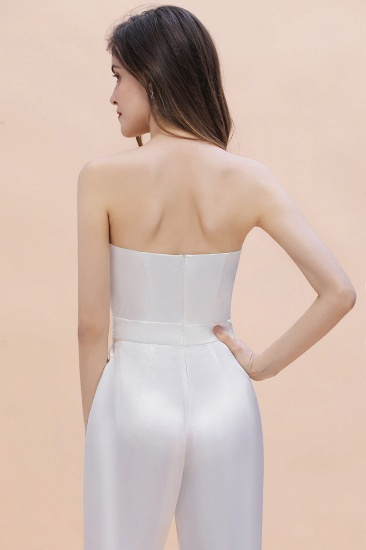 BMbridal Fashion Strapless Satin Sleeveless Bridesmaid Jumpsuit with Beading Flowers On Sale_9