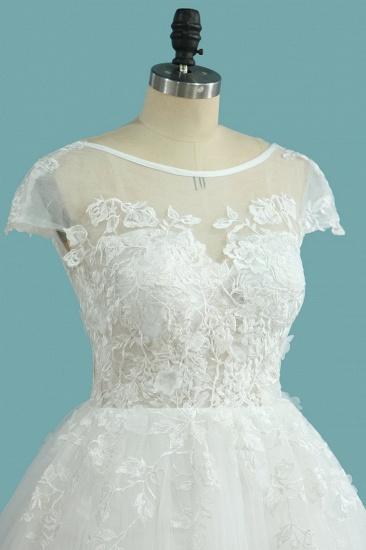 BMbridal Elegant Jewel Tulle Lace Wedding Dress Short Sleeves Appliques Ruffles Bridal Gowns Online_4