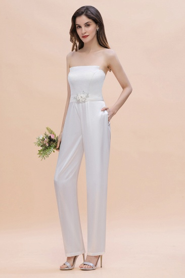BMbridal Fashion Strapless Satin Sleeveless Bridesmaid Jumpsuit with Beading Flowers On Sale_7